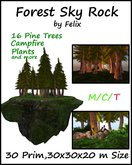 Forest Sky Rock by Felix 30 Prim copy/mody ( for skybox grotto cave tree plant landscaping )