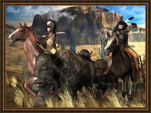 "American Native Art ""Bison Hunt"""