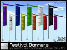 Festival Banners scripted * copy/mod * Event banners * Cerenomy flags * Medieval, Furry, rainbow + any themes