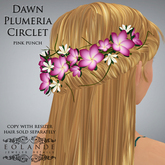 "Eolande's Plumeria Hair Circlet for ""Dawn"" - pink punch (boxed)"