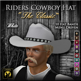 "Riders Cowboy/Cowgirl Hat ""The Classic"" White (Modeled After a Felt Stetson) Unisex Western Hat"
