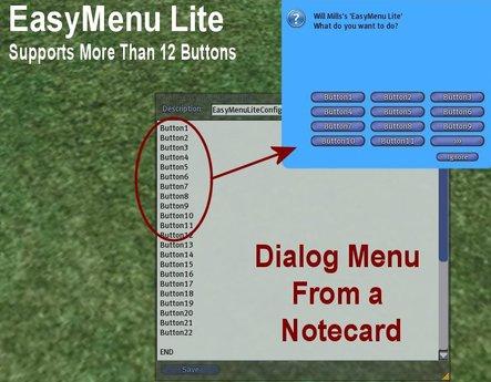 EasyMenu Lite - Full Perm lsl menu script - dialog menu from a notecard - learn lsl dialog menus