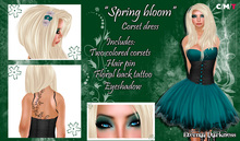 "::ED::""Spring bloom""  Teal corset dress"