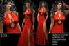 BD-Cayla red sexy gown glitter slit erotic dance ball sparkle  dress sculpty waterfall
