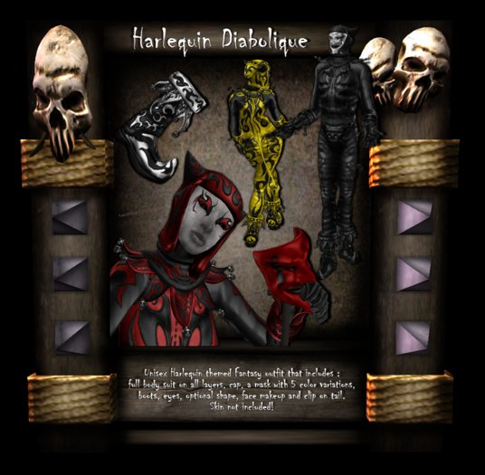 [LH] Harlequin Diabolique- Fat Pack - An Impish Fool / Trickster Demon Unisex Avatar in 8 Colors -Includes Mask & Boots