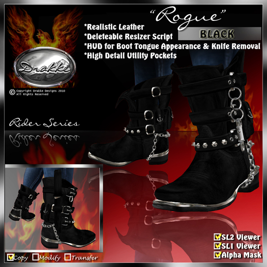 """PROMO ~ New Release SALE ~ !Drakke! """"Rogue"""" Boots (Black) with Unsheathed Knife Appearance Option ~ SL Viewer 2 Ready"""