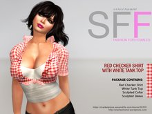 SFF - Red Checker Shirt With White Tank Top