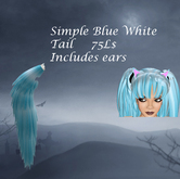 Simple Blue White Tail and Ear Set
