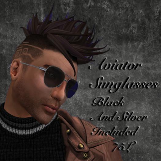 =Druid Designs= Aviator Sunglasses Silver and Black (boxed)
