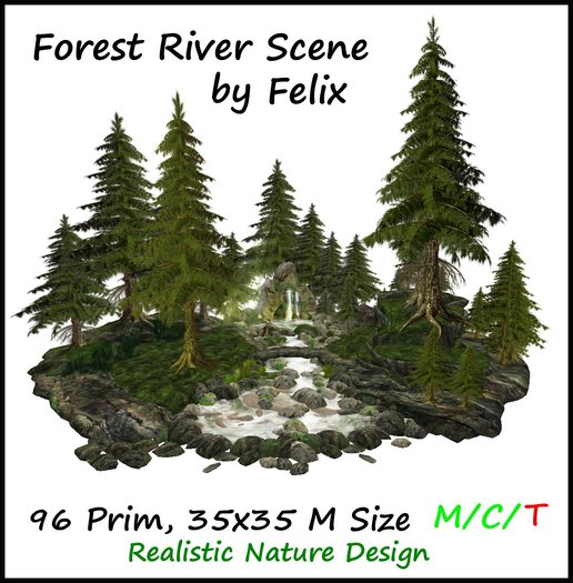 Forest River Scene by Felix 35x35m Size 96 Prim copy/mody ( for landscaping cave waterfall tree plant flower rock )
