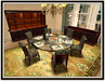 Dinner Party Dining Set for 6: Brass & Glass Round w/ Brocade