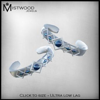 [Mistwood Jewels] Glacial Stones Armbands - Platinum, MistPearls & Sapphires