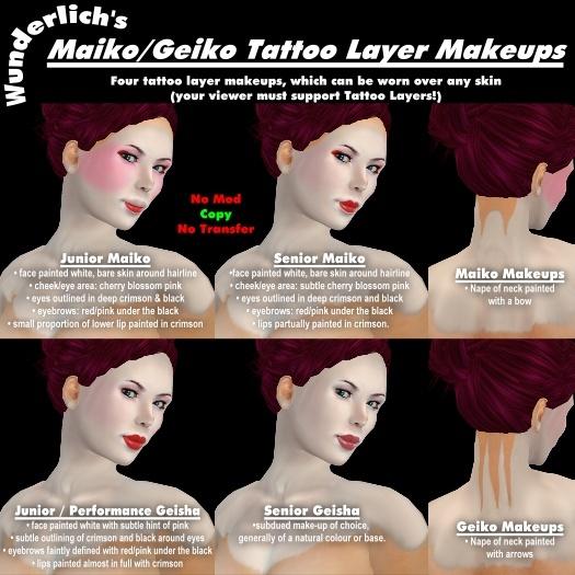 Wunderlich's Maiko / Geisha Tattoo Layer Makeups