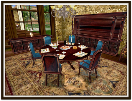 Dinner Party Dining Set for 6: Walnut Round Table