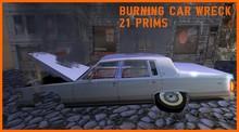 Urban Wreckage Burning car wreck