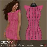 DCNY Stretch Crochet Dress in Cerise