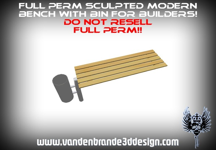 ~Full perm sculpted bench + bin modern + sculpted maps for builders Only on the marketplace!