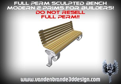 ~Full perm sculpted bench modern 2 prims+ sculptmaps! for builders