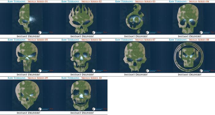 50% OFF SALE! 10 x Raw Terrains - Skulls Complete!