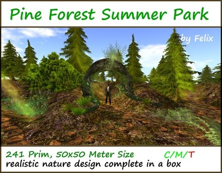 Pine Forest Summer Park by Felix ( for cave cavern grotto landscaping garden tree plant flower stone rock waterfall )