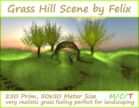Grass Hill Scene by Felix ( for cave cavern grotto landscaping waterfall tree plant stone rock sculpted garden flower )