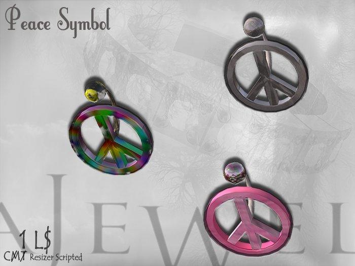 ::A JEWEL:: Fashion 3 PEACE SYMBOL Dollarbie Belly Piercing Jewelry