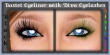 BASTET Eyeliner with Black & Tintable DIVA Eyelashes - Tattoo Eye Makeup