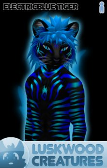 Luskwood Electric Blue Tiger Avatar - (Complete Male Furry Avatar)