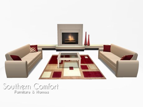 Second Life Marketplace Living Room Modern Cream And Red