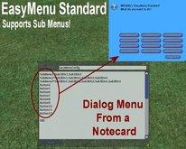 EasyMenu Standard - Full Perm lsl menu script - dialog menu from a notecard - learn lsl dialog menus