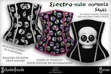 Schadenfreude Skull Electro-cute Corsets