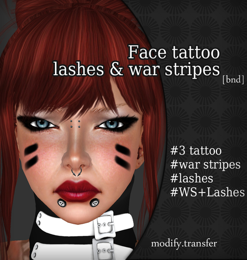Face tattoo Black Lashes & War Stripes Promo