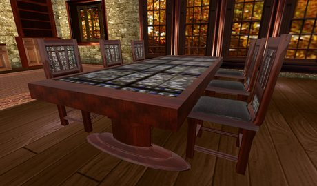 Second Life Marketplace Sale Medieval Dining Table 6 Chairs Male Female Sits Menu Driven Mahogony And Stained Glass Gothic