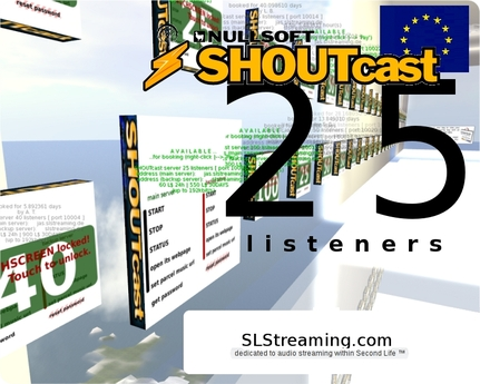 SHOUTcast server 25 listeners ONE MONTH 30 days