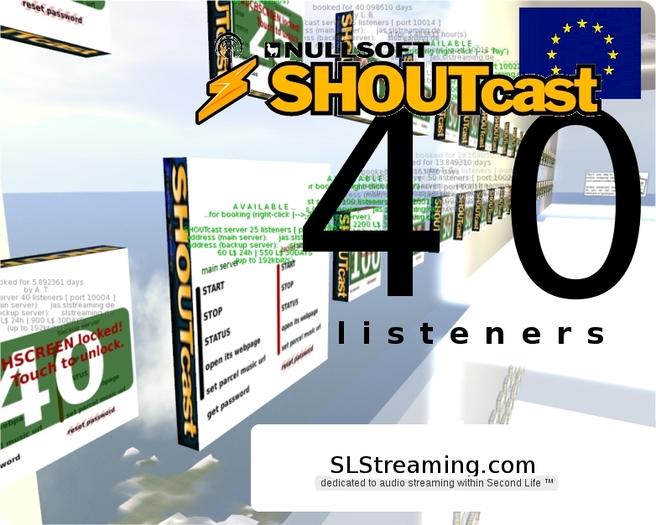 SHOUTcast server 40 listeners ONE MONTH 30 days