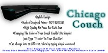 ** SALE ONLY 1 L ** Chicago Couch * Any Color Scripted *