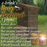 Busy Beehive 1 (brown wood) - hive/swarm/insect/beehoney/garden/farm/ranch