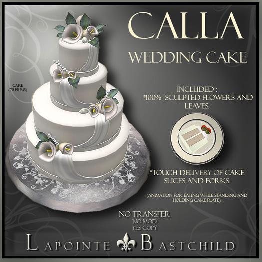 Second Life Marketplace Wedding Cake Calla Lily Round Antique