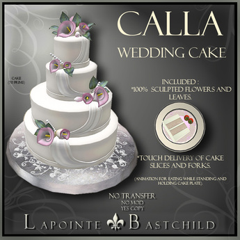 Second Life Marketplace Wedding Cake Calla Lily Round Pink