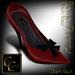 CC Design - Pumps Black Bow Dark Red