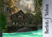 Enchanted Cottage Skybox DELUXE Green(100 meter holodeck dome 1300 animations!. bed, hot tub, bath, sofa, gazebo)