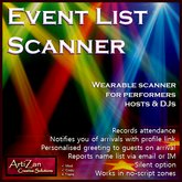 ArtiZan Event Scanner - greets, records names, gives items, notifies with profile link