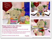 Happy mothers day with love animated bear (boxed)