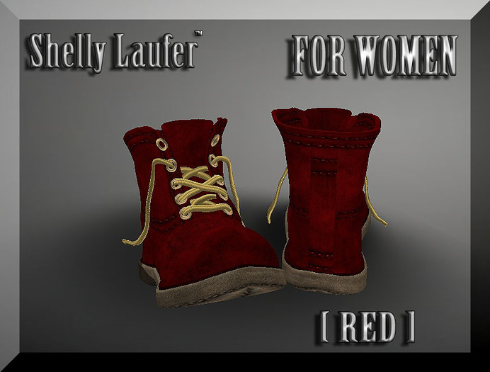 ::: Shelly Laufer Work Boots [Red] For Women :::