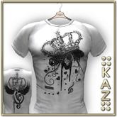 ::KAZ:: fashionable tshirt musical crown white black shirt
