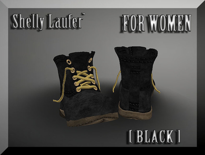 ::: Shelly Laufer Work Boots [Black] For Women :::