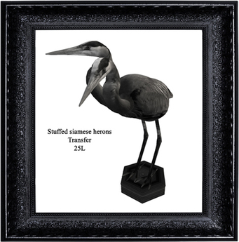Stuffed siamese herons
