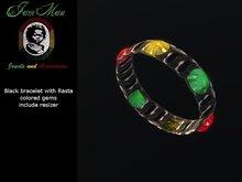 Rasta Gems Black Arm Bracelet black with resizer By Jamman