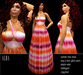 BD-Alba Maxi Summer Dress batik orange pink rose sexy beach empire skirt gown