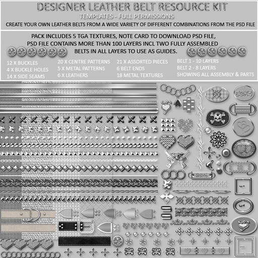TD TEMPLATES  Designer Leather Belt Resource Kit - Templates & PSD - FULL PERMS